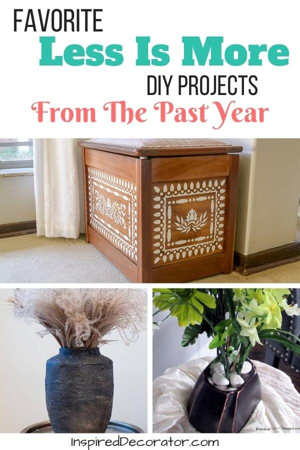The Less Is More series is a monthly post of DIY home decor project ideas to help you create your own home decor in your tastes. Each post idea uses thrifted, repurposed, or budget-friendly products to give new life to your home decor and design. Discover the reader favorite Thrifty Thursday posts from the past year. There were some great project ideas!