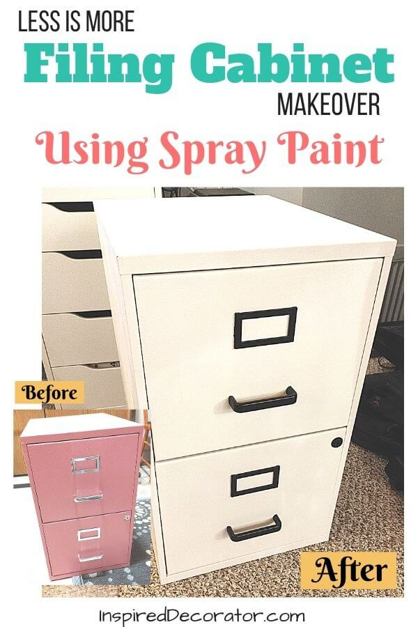 Give your existing home furniture a quick update with spray paint. This filing cabinet makeover took a practical office organizer from hot pink mess to modern accent decor.