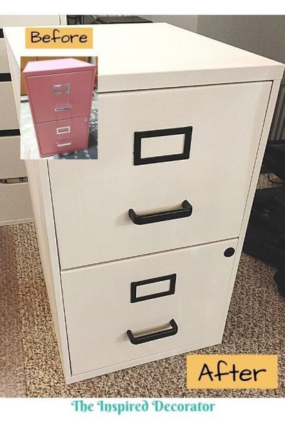 Quickly give an old filing cabinet a farmhouse makeover! From hot pink to classy black and white, this filing cabinet is no longer an eye sore. Full tutorial.