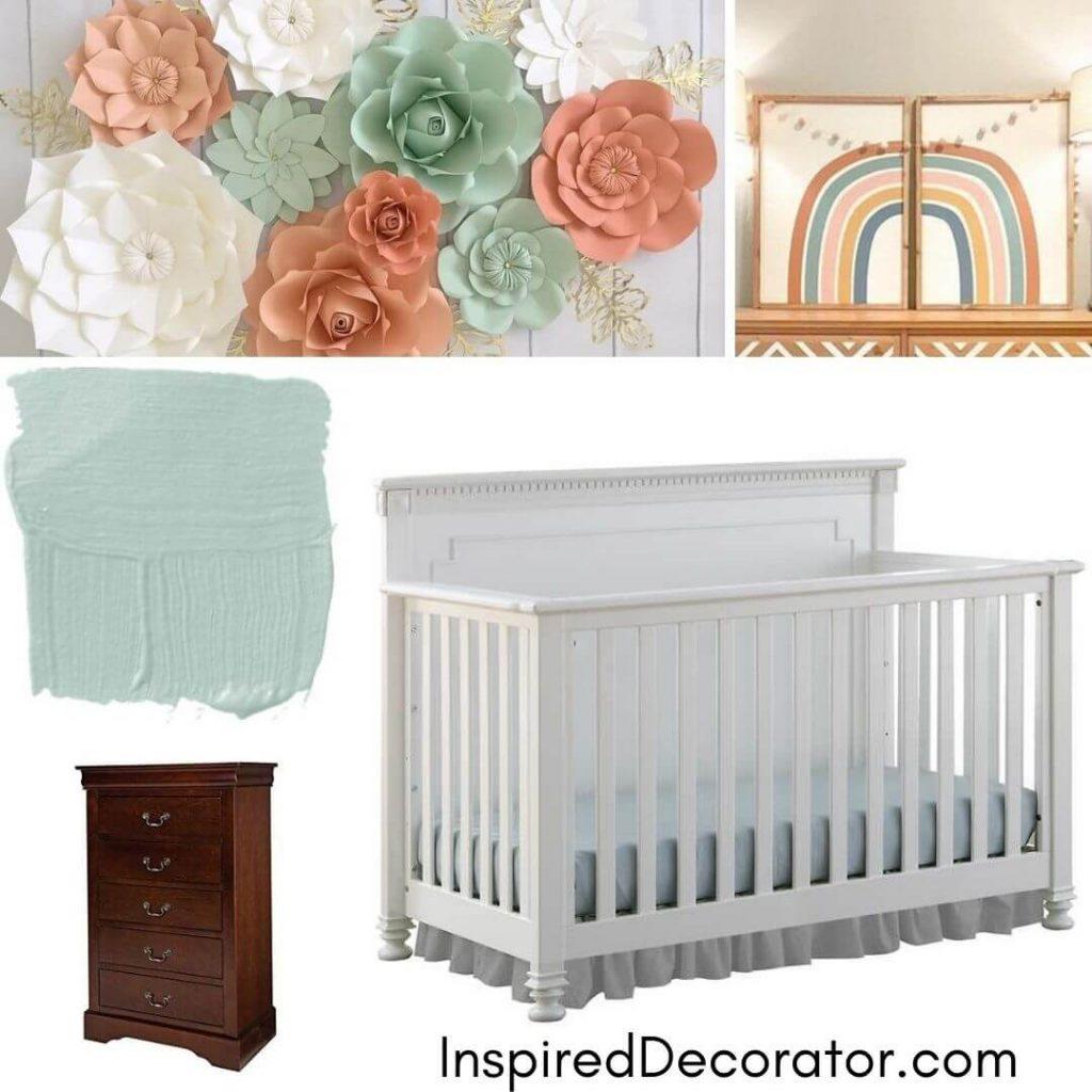 Girl's Nursery Room Inspiration Board for a mint and coral boho nursery room.