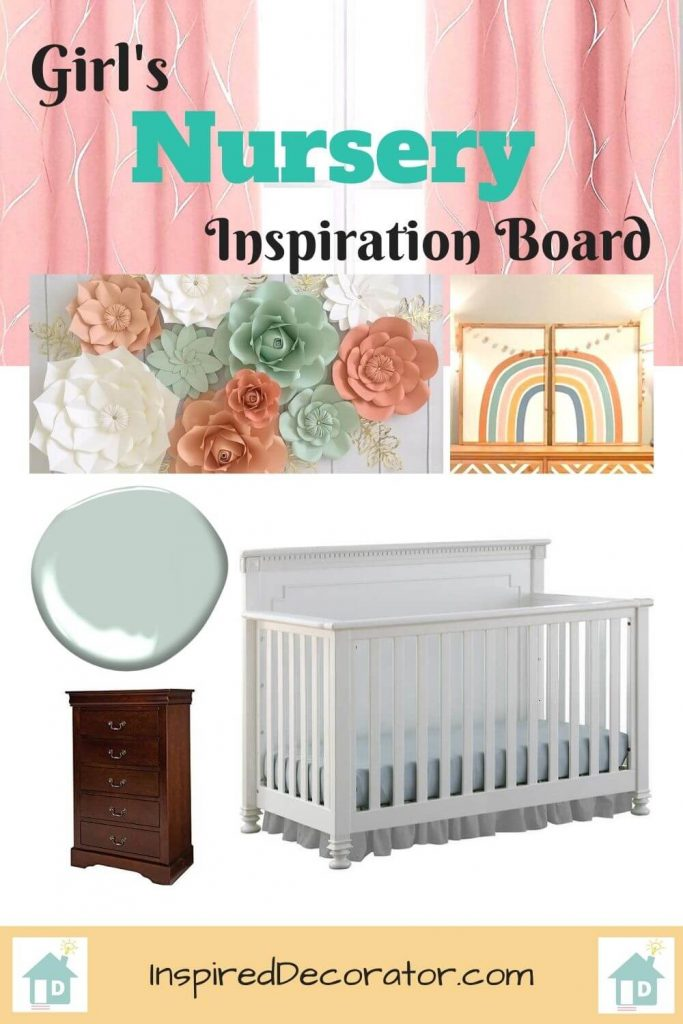 Moodboard Inspiration for a Mint and Coral Girl's Nursery Room