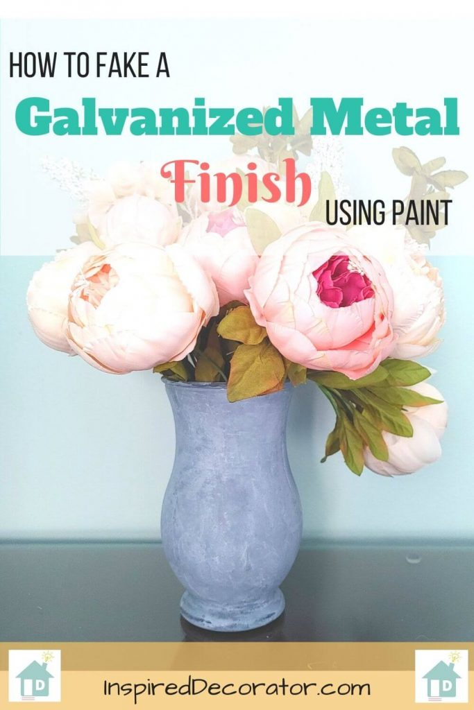 DIY Tutorial for How to paitn a Faux Galvanized Metal Vase Finish on a Glass Vase
