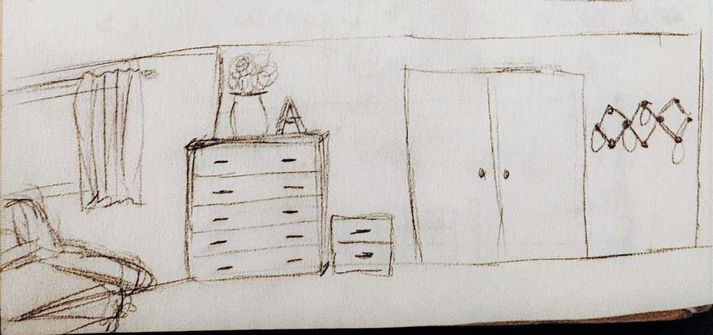 Close Up of the closet wall sketch by the Inspired Decorator