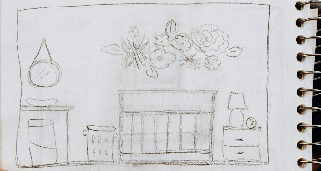 Close up of the sketch for the crib wall by the Inspired Decorator