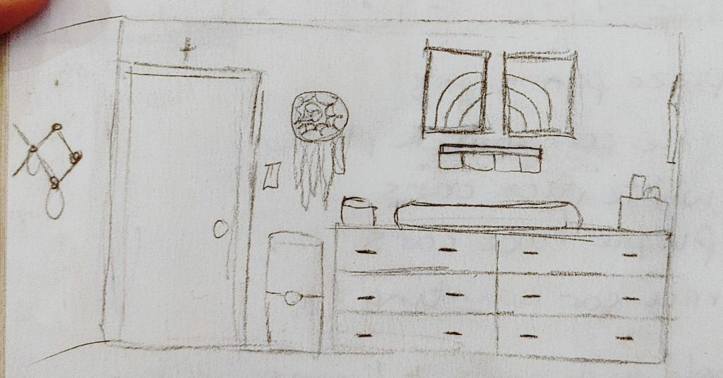 Close up of the entry wall sketch by the Inspired Decorator