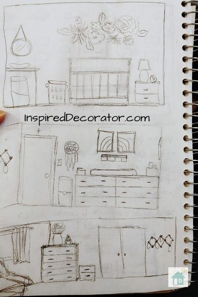 Nursery Room ideas quickly sketched onto paper