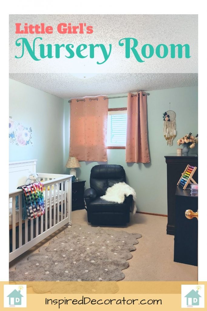 Little Girl's Nursery room reveal using coral and aqua colors