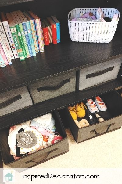 Fabric baskets from the Dollar Tree are great for cheap shelving storage cubes.