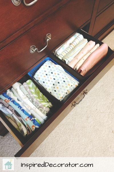 Fabric baskets from the Dollar Tree are the perfect size for drawer organizers.