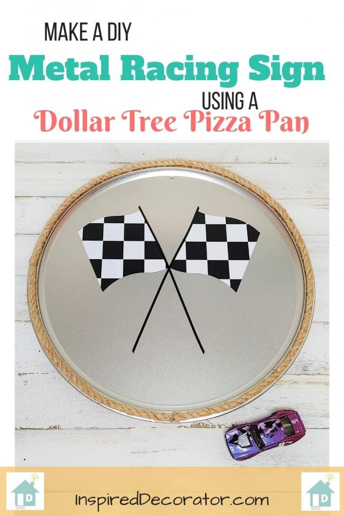 Create your own round metal wall sign using a pizza pan! This DIY metal race car sign for a boys room was made with a Dollar Tree pizza pan. Full tutorial included!